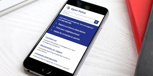 Open Police 3.0 demo website on a smartphone.