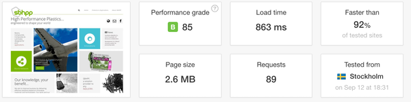 Pingdom PageSpeed report.